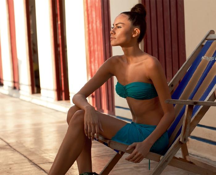 Reggiseno Projets,28,90€  Gonnellina Flamme, 29,90€  #turquoise #PhilippeMatignon #Goldenpoint #bikini   @Philippe Matignon