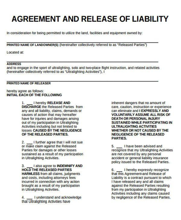 General Liability Waiver Form Template Fresh Sample General Liability Release Form 7 Examples In General Liability Liability Waiver Liability