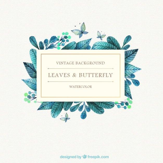 feuilles de l'aquarelle et papillon fond Vecteur gratuit