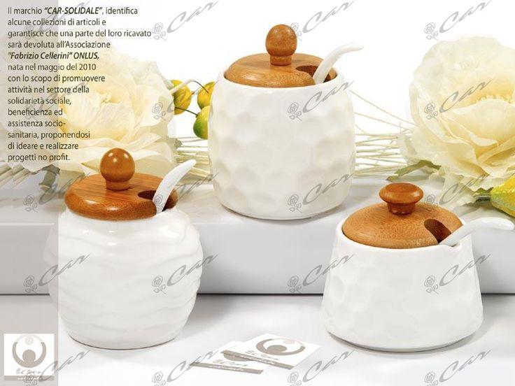 Zuccheriere di porcellana con tappo di legno
