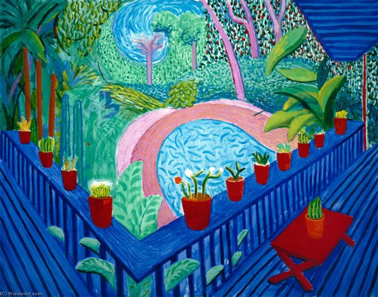David Hockney, Red Pots in the Garden, 2000.