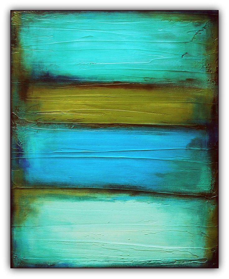 Fade Olive Green And Teal Painting Retro Wall Decor In