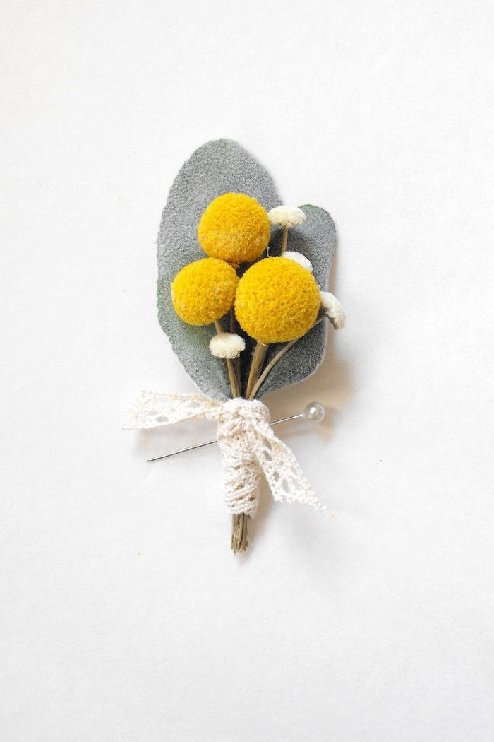 Yellow Billy Ball Felt Bout by MoonflowerNatureArt. Great choice for a groom's grey suit. #boutonniere #yellow #felt