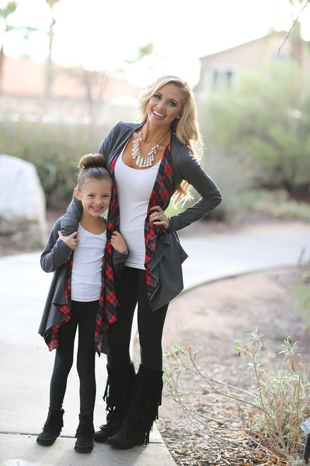 Mommy and Me Grey and Plaid Cardigan - Ryleigh Rue Clothing by Modern Vintage Boutique