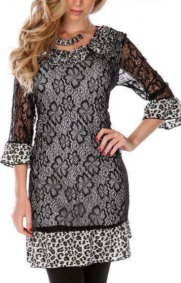 Black & White Lace Leopard Dress
