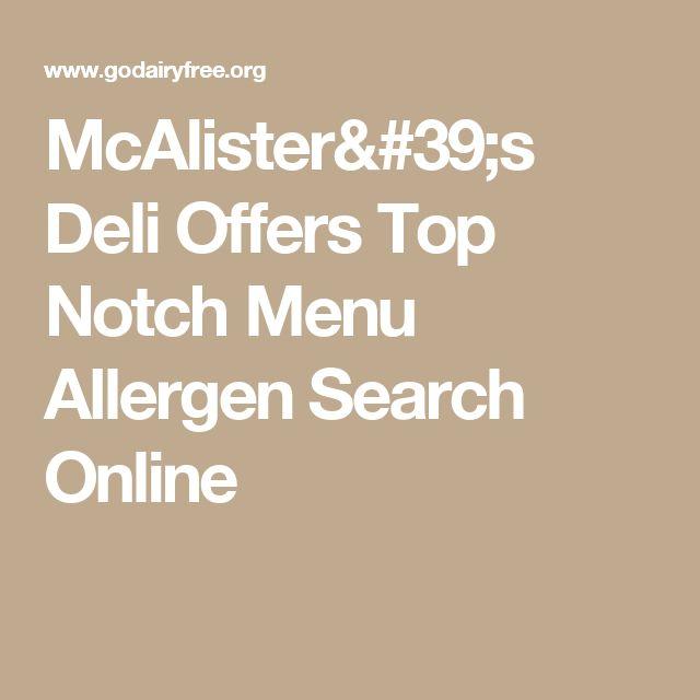 McAlister's Deli Offers Top Notch Menu Allergen Search Online