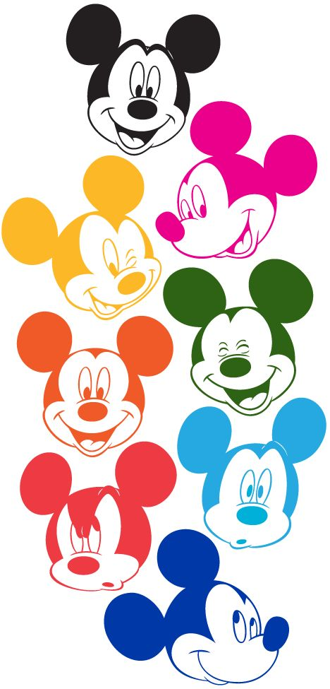 Mickey Mouse Faces in Technicolor (colored by me)