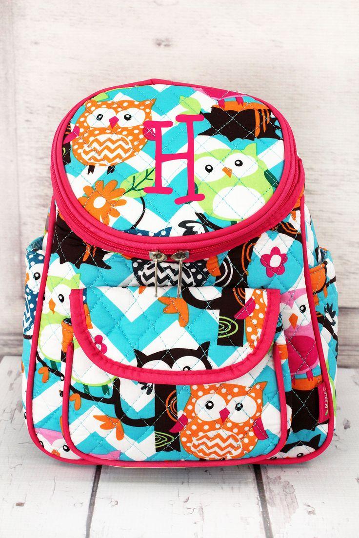 Aqua Chevron Owl Party Quilted Petite Backpack in Pink or Aqua Trim/ Preschool Backpack/ Diaper Bag/ Toddler Backpack/ Sling Backpack