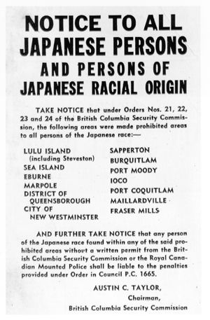 In Canada, there were ten internment Camps in total. They consisted of three road camps, two prisoner of war camps(POW), and five self supporting camps scattered throughout the country during the second World War. Prior to World War II, 22,096 Japanese Canadians lived in British Colombia; three quarters of them were naturalized or native born Canadians.