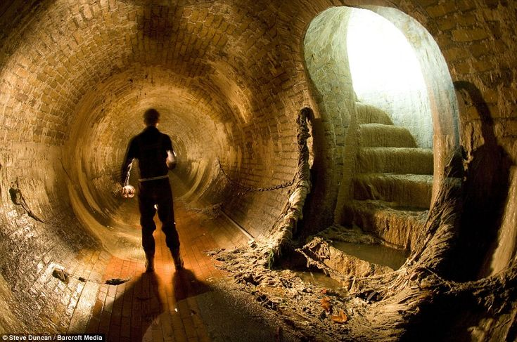 Eerie: A storm drain in the sewer that was once the Westbourne River in London. Over time, rivers like this were hidden underground in tunnels and became important parts of the sewer system