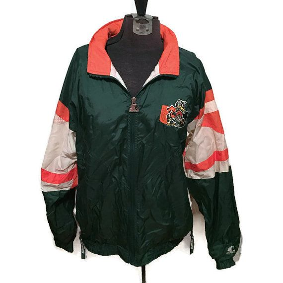 90 S Starter Jacket 1990 S Miami Hurricanes Windbreaker University Of Miami Hooded College Sports Green O Jackets Vintage Outfits University Of Miami