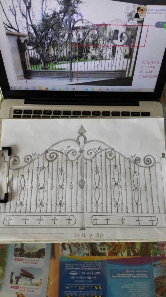 Projeto de jardim de ferro forjado portões de ferro forjado de Oct1 em Portas de Melhoramento Da casa no AliExpress.com   Alibaba Group