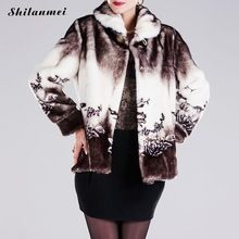 2016 merk winter bloemen jas vrouwen bovenkleding jassen casacos femininos nep bont plus size vintage kunstmatige faux vos mantel(China)