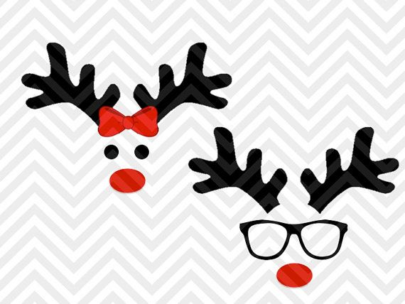 Reindeer Christmas Girl Boy Bow Glasses Cute Decal Shirt Santa Christmas SVG file - Cut File - Cricut projects - cricut ideas - cricut explore - silhouette cameo projects - Silhouette projects by KristinAmandaDesigns