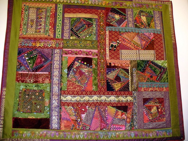 Wallhanging of Crazy Quilting Braids and Beads | Flickr.  Just stunning work.