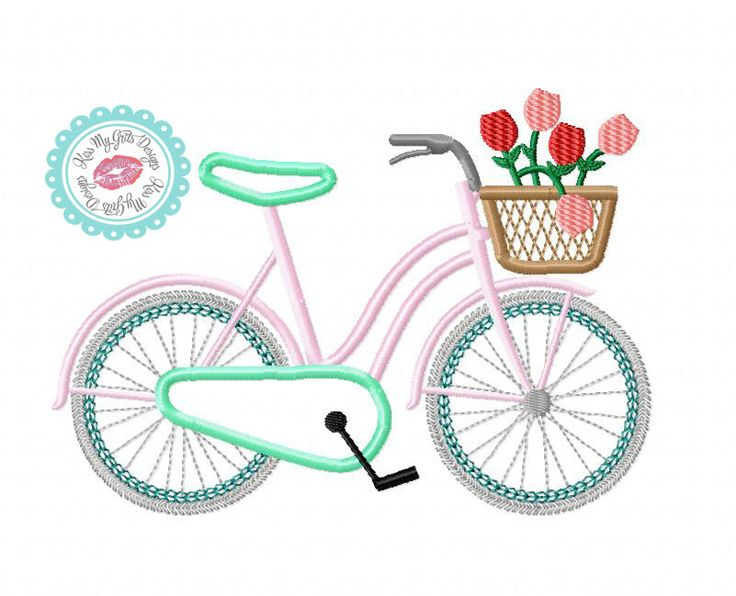 Bicycle with Basket of Flowers Machine Embroidery Applique Design by KissMyGritsDesigns on Etsy https://www.etsy.com/listing/226634289/bicycle-with-basket-of-flowers-machine