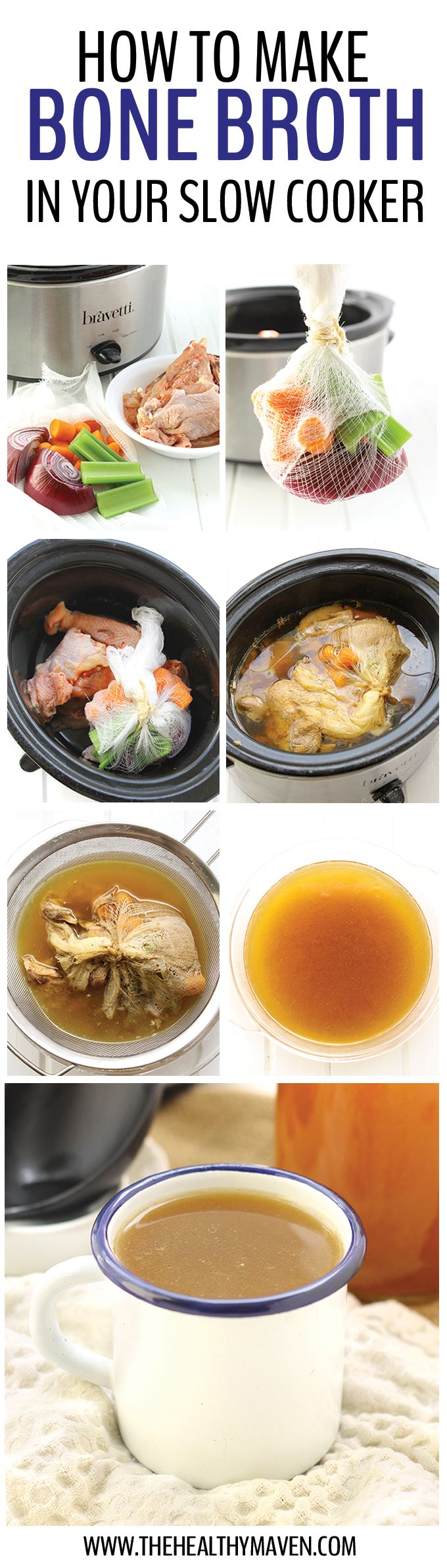 Bone Broth by thehealthymaven: Learn how to make bone broth in your slow cooker. It requires minimal ingredients and steps but a whole lot of patience as your house fills with the delicious scent of homemade broth. #Bone_Broth #Slow_Cooker #Healthy