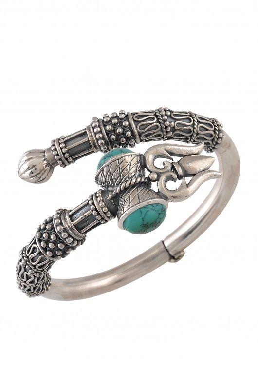Silver Oxidized Turquoise Trishul Bangle Amrapali
