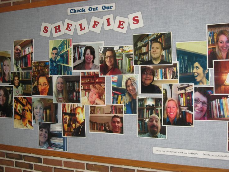 """This has been CVHS Library's MOST talked about display in a long time! We asked staff and students to take a """"selfie"""" with their home bookshelf in the background and email it to us. We dubbed them """"shelfies,"""" a term I hadn't seen before so we're taking credit for coining it! :) We have them displayed on a BB and also in an album on our library FB page. https://www.facebook.com/CVHSLibrary"""
