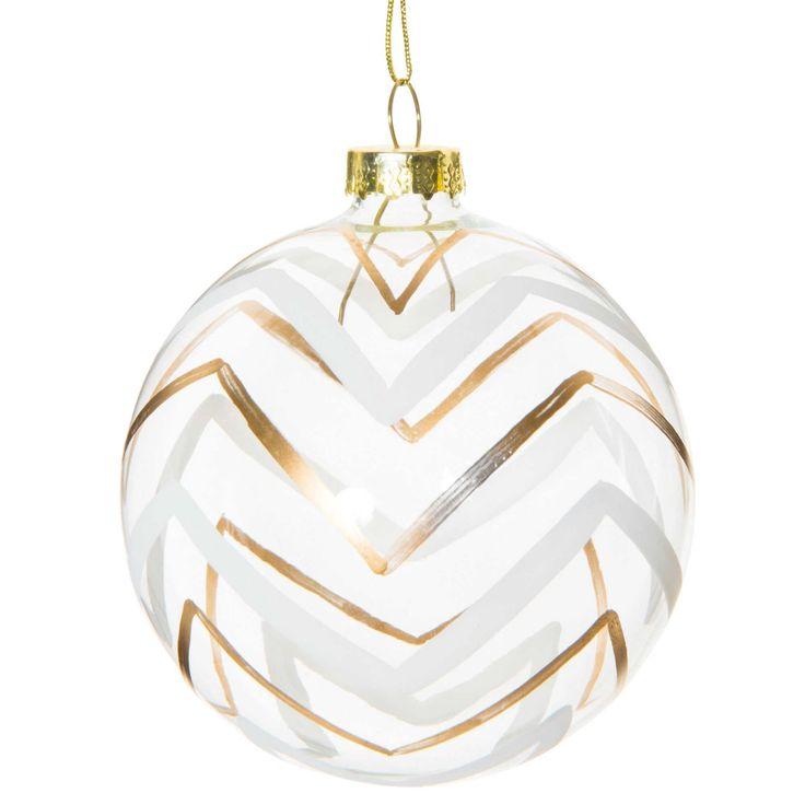 Pallina di Natale motivo spinato in vetro  8 cm GOLD   - Venduto x 6