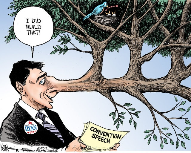 Paul Ryan tells the truth: By Kevin Siers / The Charlotte Observer (August 31, 2012)Paul Ryan, American Politics, Tell The Truth, Doces Paul