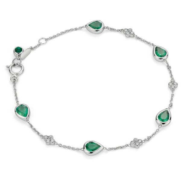 Blue Nile Emerald and Diamond Bezel Bracelet 18k White Gold (5x4mm) ($2,195) ❤ liked on Polyvore featuring jewelry, bracelets, rannekorut, blue nile jewelry, 18k bangle, white gold bangle, blue nile and emerald jewellery