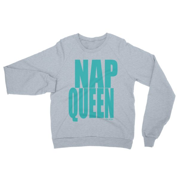 Nap Queen #beanandjean  This American Apparel crew-necked sweater is made out of California fleece which, opposed to typical synthetic fleece, is made out of 100% extra soft ring-spun combed cotton. It's pre-washed to minimize shrinkage and is breathable yet extra thick for warmth. Designed in Canada & Ethically Made in the USA, sweatshop free