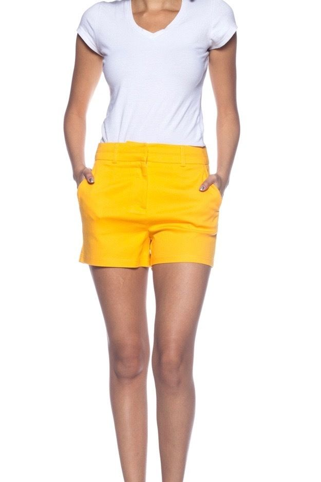 Bold, Stylish Women's Yellow Fitted Shorts.