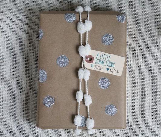 DIY glitter polka dot wrapping paper