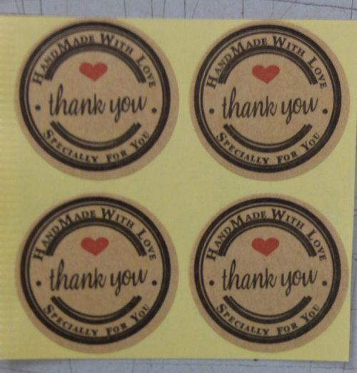 100pcs/lot Thank You love self-adhesive stickers kraft label sticker Diameter 3CM For  Hand Made Gift /Cake /Candy paper tags