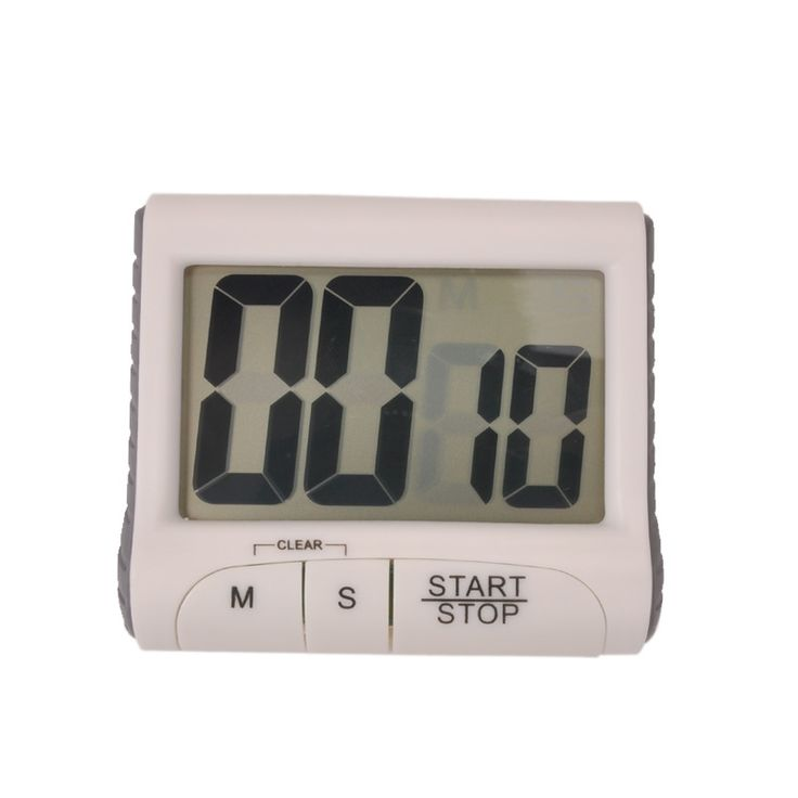 Magnetic Large LCD Screen Digital Kitchen Timer Alarm Magnet Countdown Cooking Timer Count Up / Down ( White )