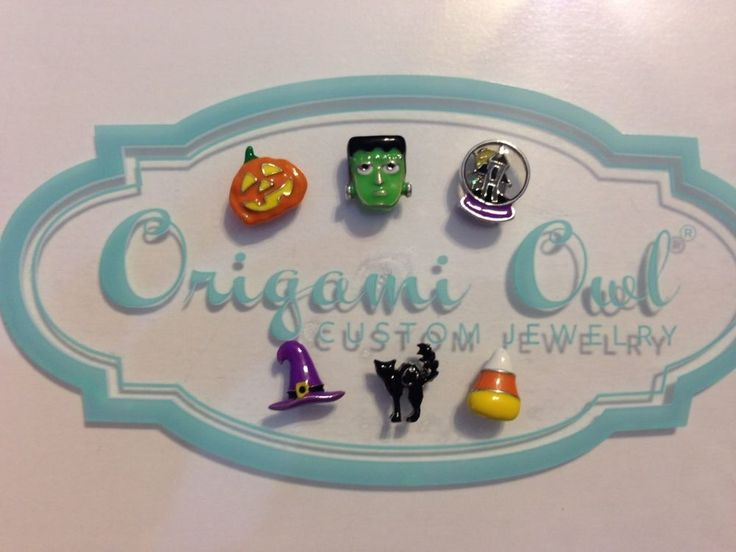 6 Origami Owl Halloween Charms Including Sold Out Cat, Pumpkin, Frankenstein #origamiowl #charms