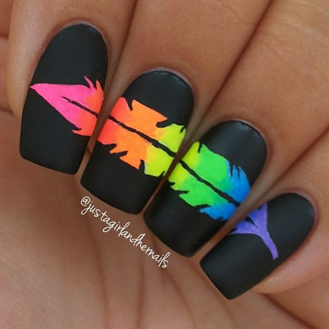"Instagram media by justagirlandhernails - Neon feather! So proud of this baby! Loosly inspired by @ane_li, I say loosely because mine looks nothing like her masterpiece but I did follow both of her easy to follow tutorial & pictorial's. Base is SH 'Black Out"", for the feather I used all acrylic paints, and topped it with Wet n Wild Matte Top Coat."