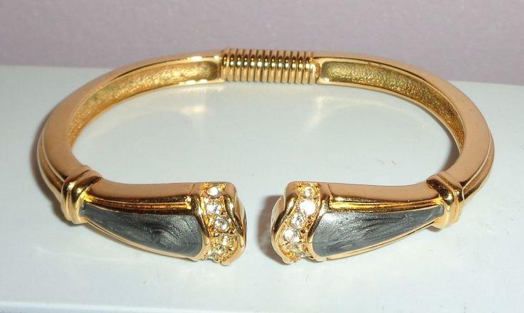 Large Vintage K J L Kenneth Jay Lane Goldtone Enamel Rhinestone Clamper Bracelet