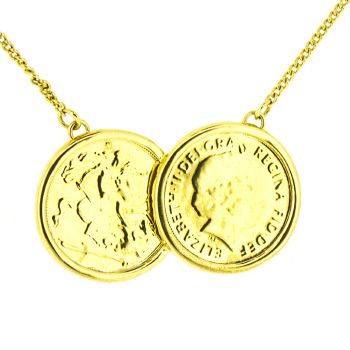 Premium 22ct Gold Double Coin Holly Necklace - BACK IN STOCK
