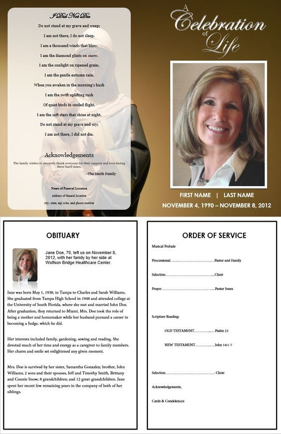 Virgin Mary Funeral Program Template. Inside consists of an Obituary Template and the Order of Service Template. More Funeral Program Templates for download available at https://www.funeralpamphlets.com
