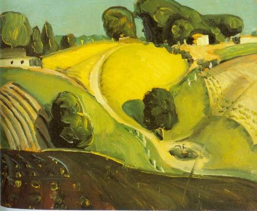 "Landscape by Grant Wood, 1930, Notice the sketchy, almost impressionistic quality as opposed to the precise, detailed style of  the later ""Haying."""
