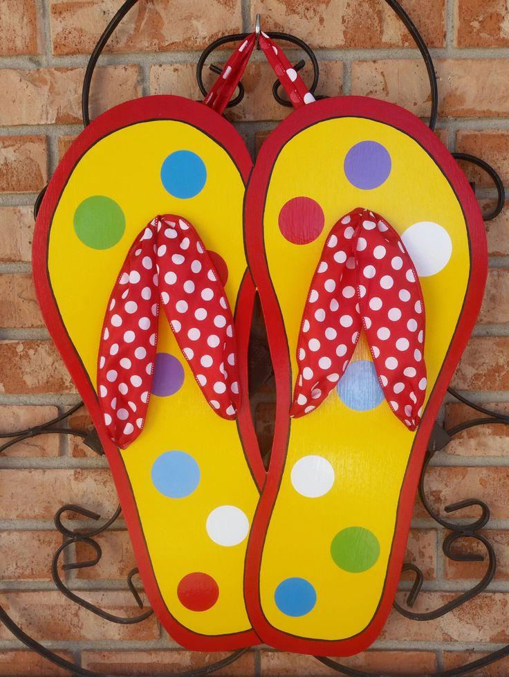 Spring Door Hanger Flip Flop Door Hanger Sign Decoration Summer Decor Pool Decor Front Door Decoration by TheRedWoodBarn on Etsy https://www.etsy.com/listing/202518930/spring-door-hanger-flip-flop-door-hanger