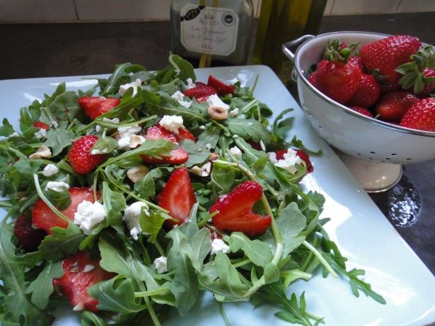Arugula Salad with Strawberries and Feta from Mom's Kitchen Handbook