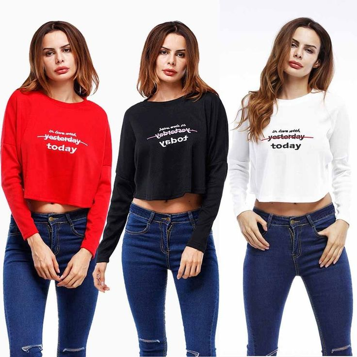 Women Solid Long Sleeve T-Shirt Casual Crop Top Sports Tops Blouses Black/White/