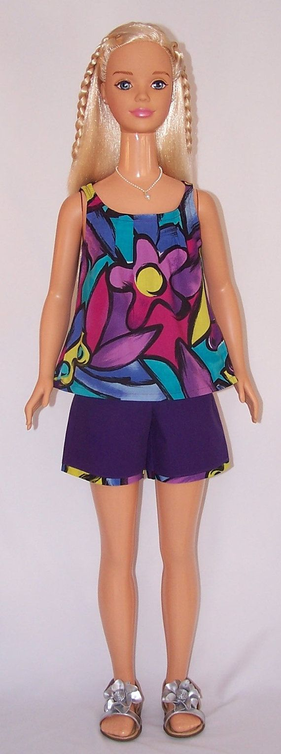 My Size Barbie Flower Power Top & Shorts Set by SewDollyCute, $20.00