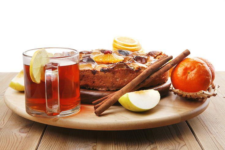 Картинка Пирог Чай Корица Еда Кружка Сладости Пища Продукты питания