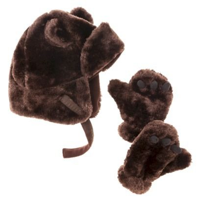 Infant Toddler Boys' Fuzzy Bear Hat and Glove Set