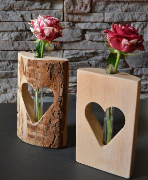 Herzvase-Dualis, Holzdeko mit Glasröhrchen – #eck…