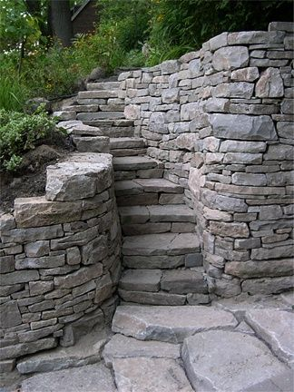 Beautiful retaining wall and steps.(bh)