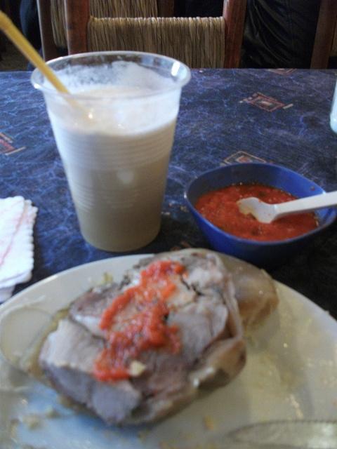 Terremoto, trago típico de La Piojera , vino dulce con helado de piña y un poco de fernet.