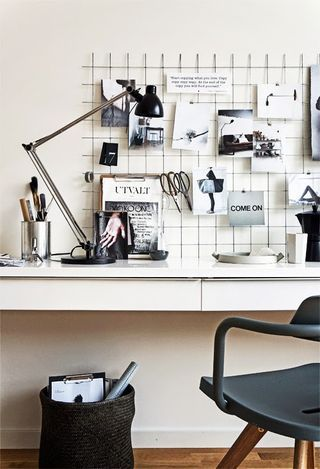 Maybe a black and white inspired sewing space would coordinate with the bedroom and not irritate my husband too much!