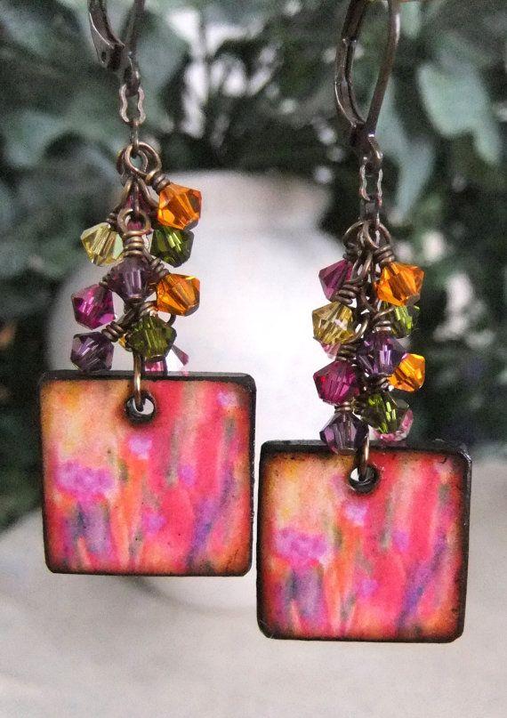 Wildflowers original watercolor artwork from JLynn miniaturized for Tile Earrings