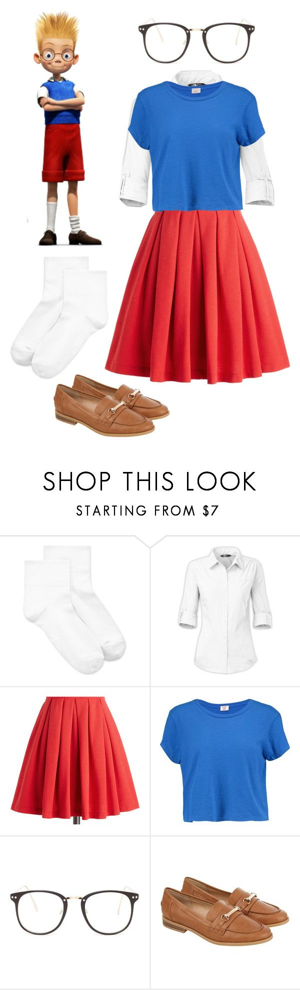 """""""Disney-bound // meet the robinsons/gender swap"""" by browneyedbeautiful ❤ liked on Polyvore featuring Disney, HUE, The North Face, RE/DONE, Nasty Gal and Accessorize"""