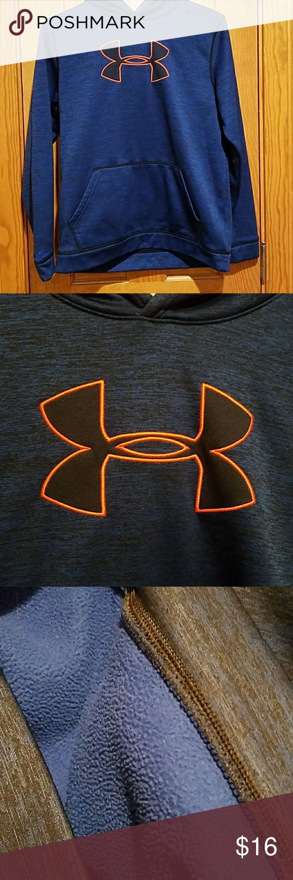 Under Armour hoodie Blue with neon pink logo. Fleece lined